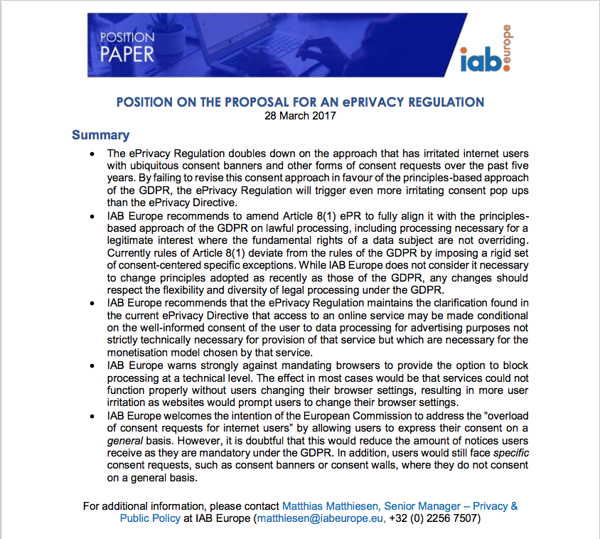 IAB position paper on ePrivacy